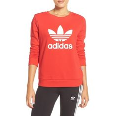 Women's Adidas Logo Crewneck Sweater ($55) ❤ liked on Polyvore featuring tops, sweaters, vivred, crew neck pullover sweater, red top, crewneck pullover, crewneck sweaters and adidas sweater
