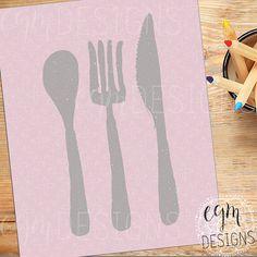 Spoon Fork Knife Kitchen Art Printable, Pink, wall decor print, digital wall art, kitchen wall art, kitchen decor, 3 sizes
