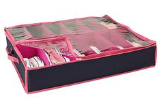 One Kings Lane - Stock Up for the Season - 12-Pair Underbed Shoe Organizer, Navy