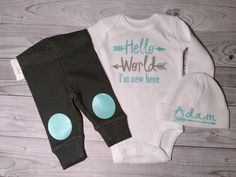 baby boy coming home outfit hello world by SweetnSparkly on Etsy