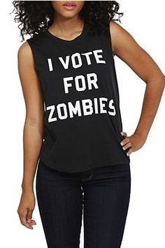 Vote For Zombies Sleeveless Girls T-Shirt