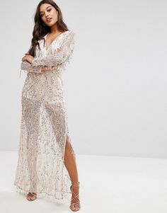 Discount 2018 Newest New For Sale Cami Strap Floral Sequin Fishtail Backless Maxi Dress - Nude/ cream Club L Discount Reliable Clearance Pay With Visa qb2rxfZF