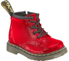 Dr. Martens Brooklee B 4-Eye Lace Boot Prints - Red Patent Lamper - FREE Shipping & Returns | Shoebuy.com