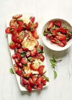 grilled halloumi and marined strawberries