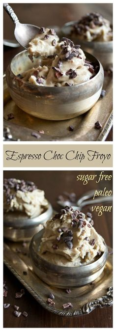 Espresso Choc Chip Froyo is a perfect dessert for grown-up frozen yoghurt lovers. Paleo-friendly, vegan and sugar free!