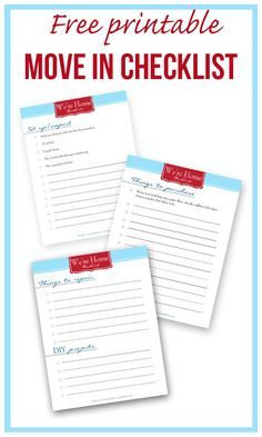 New Home Printable Checklist U2013 {Free Download}. New Apartment ChecklistNew  House ChecklistMoving ...