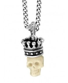 King Baby - Small Carved Bone Skull with Silver Crown #designer #Mensjewellery