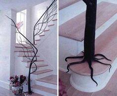 Tree stair rail