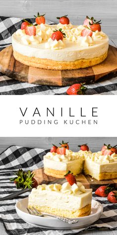 Vanilla custard cake- Vanille Pudding Kuchen The cake is easy to prepare. All you need is a sponge cake base and a vanilla pudding. You can serve various fruits or chocolate as a decoration. I spread strawberries on it. Decorated as you like it best. Vanilla Pudding Cake, Custard Cake, Vanilla Custard, Vanilla Cake, Vanilla Frosting, Cookie Recipes, Dessert Recipes, Food Cakes, Savoury Cake