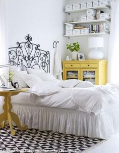 yellow and white bedroom. I'm painting a yellow dresser this weekend!