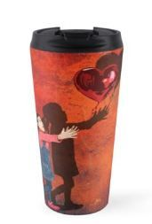 The love Balloons and little Girl Travel Mugs #mugs #travelmugs #red #girly #girlie #kids #children #graphic #design #street #art #banksytheballoons #girl #balloons #valentine #hope #meme #love #brokenheart #heart #mothersday #birthday #beauty #beautiful