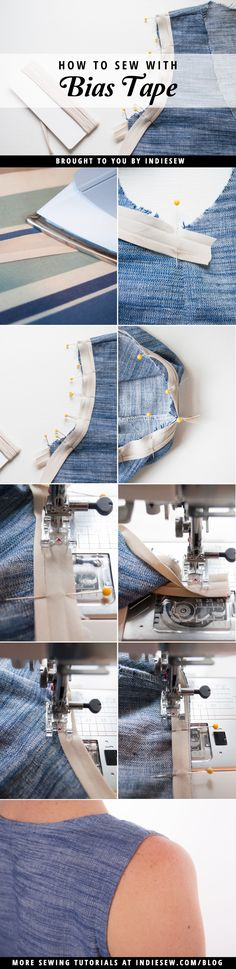 Avoid wonky, wavy armholes! Learn how to sew with bias tape (a.k.a. bias binding) to finish armholes and necklines for a professional, crisp look.   Indiesew.com