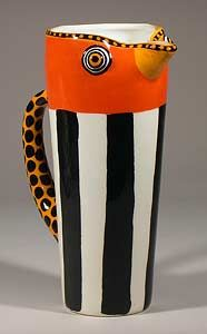 """Woodpecker Pitcher""  Ceramic Pitcher"