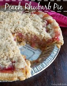 Peach rhubarb pie combines the tart taste of spring with summer's sweet fruit. Peach and rhubarb come together under a golden streusel in this perfect fruity pie. Rhubarb Desserts, Rhubarb And Custard, Rhubarb Recipes, Easy Desserts, Delicious Desserts, Rhubarb Dishes, Rhubarb Ideas, Cooking Rhubarb, Kitchens