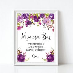 ****Please read the following instructions before purchase!!!****  INSTANT DIGITAL DOWNLOAD - Mimosa Bar Sign ♥MATCHING COORDINATES♥ https://www.etsy.com/shop/Invites2Adore?ref=seller-platform-mcnav&search_query=purple+floral  You will receive: 1 NON-EDITABLE PDF FILE 8x10 Mimosa Bar Sign  ***All orders will be sent via PDF format*** You will need ADOBE reader to open the file. It is FREE to download at http://get.adobe.com/reader/).  PRIN...
