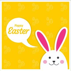 Easter  card with yellow background Free Vector