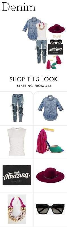 """DenimxDenim"" by slayedbyk on Polyvore featuring One Teaspoon, Abercrombie & Fitch, Alexander Wang, Forever 21, San Diego Hat Co., Souksy, Yves Saint Laurent and Denimondenim"