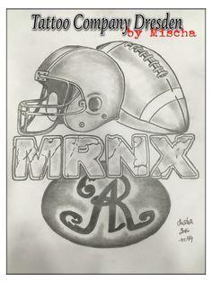 Dresden Monarchs American Football, MRNX, Tattoo, Sketch, Flash