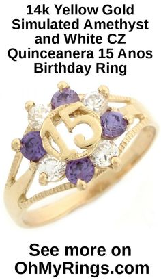 14k Yellow Gold Simulated Amethyst and White CZ Quinceanera 15 Anos Birthday Ring - Jewelry Liquidation Number: R4Y2391ZU0-0925 - Size 9.25