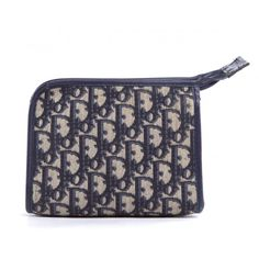 Christian Dior Vintage Navy Blue Monogram Canvas Cosmetic Pochette Bag