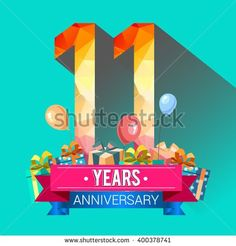 11 Years Anniversary celebration logo, with gift box and balloons, colorful polygonal design - buy this stock vector on Shutterstock & find other images. 11 Year Anniversary, Happy Wedding Anniversary Wishes, Happy Birthday Photos, Royalty Free Images, Celebration, Balloons, Colorful, Stock Photos, Vectors