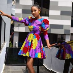 Ankara Gown With Cap Sleeve Ankara Short Gown Styles, Short Gowns, Ankara Gowns, Latest Ankara Styles, African Party Dresses, African Fashion Dresses, African Dress, African Wear, African Style