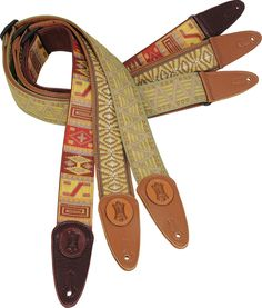 """MGJ2 is a 2"""" wide jacquard weave guitar strap with garment leather backing and tri-glide adjustment. Seen here in patterns 006, 005, and 004 (L-R). Check it out at www.levysleathers.com!"""