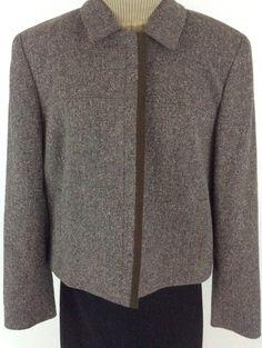 Ann Taylor Stretch Brown Tweed Sz 10 Blazer Jacket Zip Lined Pockets K16 #AnnTaylor #BlazerJacketZipped