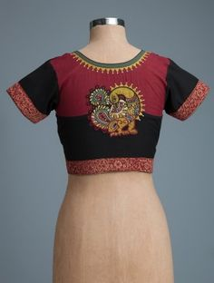 Black-Maroon Embroidered Cotton Blouse