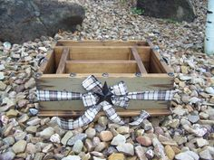 Khaki colored party wood organizer with plaid ribbon great for all your paper plates napkins cups and utensils great for any party & Light blue party decor tableware utensil holder caddy organizer for ...