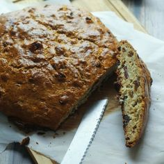Savory Irish Soda Bread - studded with pieces of dried fruit and spiced with caraway seeds for incredible flavor. Done in 75 minutes!