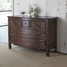 Lorraine Distressed Accent Chest Western Cabinets and Buffets - Crafted from mindi solids and veneer, this attractive chest boasts a mahogany finish and five drawers.