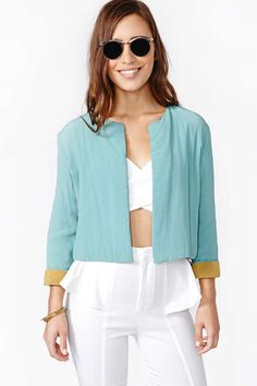 Beyond chic vintage mint Jean Paul Gaultier crop jacket featuring an open front and contrast camel lining.
