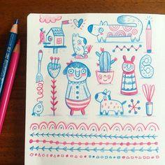 Pink and Turquoise. © LInzie Hunter #doodle #sketchbook #folkart #fabercastell #pencil #sketch #illustration