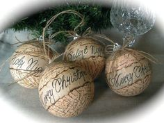 Rustic Christmas ornament- set of 4