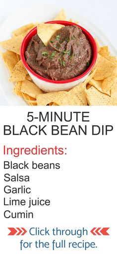 This easy black bean dip takes only 5 minutes to throw together! Bring it to your next get-together or keep it on hand for afternoon snacking. 80 calories and 0 Weight Watchers SP Healthy Dip Recipes, Healthy Beans, Bean Dip Recipes, Healthy Food Blogs, Mexican Food Recipes, Appetizer Recipes, Healthy Snacks, Healthy Bean Dip Recipe, Healthy Football Food