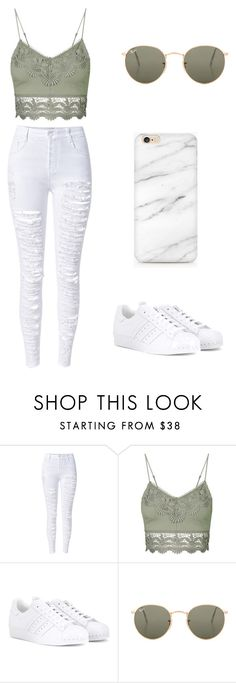 """Sem título #2"" by nicmd ❤ liked on Polyvore featuring WithChic, Topshop, adidas and Ray-Ban"