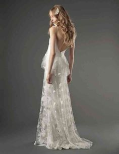 Bridal Gowns: Elizabeth Fillmore Sheath Wedding Dress with V-Neck Neckline and Empire Waist Waistline Unique Wedding Gowns, 2015 Wedding Dresses, Wedding Dress Styles, Bridal Dresses, Elegant Wedding, Wedding Dress Buttons, Lace Back Dresses, Backless Lace Wedding Dress, Dresses Uk