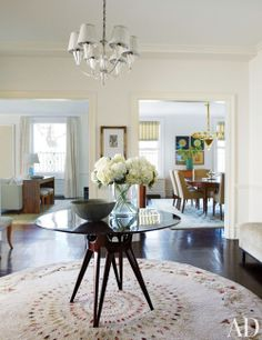 Michael J. Fox's Manhattan entrance hall features a 1940s French silvered-bronze chandelier and an Osvaldo Borsani table.
