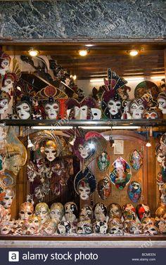 b436dd63 Download this stock image: Italy Veneto Venice Venezia Window of carnival  mask shop - BCMEEN