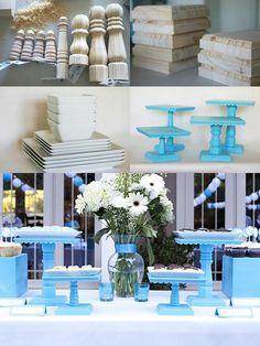 diy cake/food stands- lots of ideas!diy cake/food stand - definitely using this for my wedding(desert table!), in my colors of course. Would be great for shower too.diy cake/food stand - would work great for displaying any type of handmade product at Wedding Desert Table, Wedding Cake Stands, Wedding Cupcakes, Decoration Evenementielle, Table Decorations, Green Chandeliers, Cake And Cupcake Stand, Square Cake Stand, Cupcake Cakes