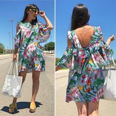 Mix print dress - Temporada: Primavera-Verano - Tags: look, ootd, fashion, moda,stardivariusblog, inspo,  - Descripción: Vestido mix estampados con escote en espalda. #FashionOlé