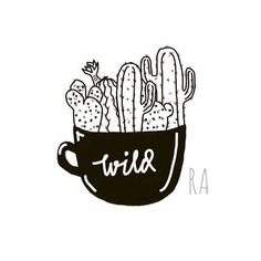 51 Likes, 2 Comments - Mau Apa? (@raniardhan)   #cactus #drawing #art #simple #desert #tattoo #tattoodesign #wild #sketch #lineart #ink #cup #sketch #doodle #doodling
