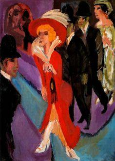 """""""Calle con buscona de rojo"""" Kirchner, 1914"""