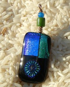 Kiln Fused dichroic glass pendant