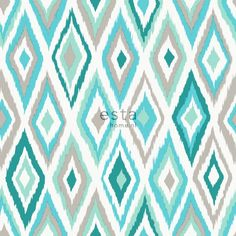 148629 chalk printed eco texture non woven wallpaper Ikat turquoise and gray