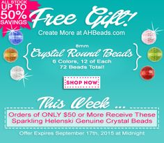 This weeks free gift is the last on our list of Helenski Crystal Beads to give away. Take Advantage & Create More at http://www.ahbeads.com ‪#‎freestuff‬ ‪#‎jewelrymakingsupplies‬
