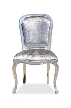 This fabulous French side chair is beautifully handcrafted by from solid mahogany, finished in silver leaf and upholstered in a silver velvet fabric that perfectly compliments the curvaceous frame. Rococo Furniture, Comfy Living Room Furniture, Silver Furniture, Furniture Trends, French Side Chairs, Chair, Rococo Chair, Furniture, Painted Chairs