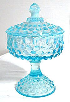 Fenton - Hobnail - Blue Opalescent - Compote w/ Lid - Tall Fenton Glassware, Candy Dishes, Blown Glass, Depression, Glass Art, Crystals, Handmade, Blue, Vintage
