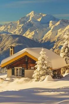 Snow Cabin, The Alps, Switzerland. If I had views like that, I probably wouldn't leave the cabin very often. The Places Youll Go, Places To Go, Beautiful World, Beautiful Places, Amazing Places, Snow Cabin, Winter Cabin, Cozy Cabin, Cozy Winter